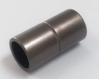 6mm Acrylic Magnetic Cylinder Clasp, Matte Granite- Gunmetal, approx. 21x10.5mm,