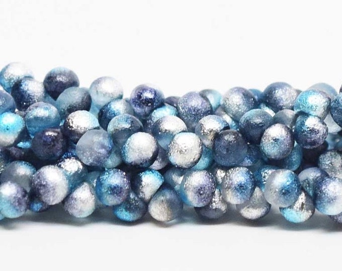 Mini Etched Teardrop Beads, Mushroom, Buttons,  4mm Aqua Celestial Etched Wide Cap Mushroom Buttons, 50 beads per strand