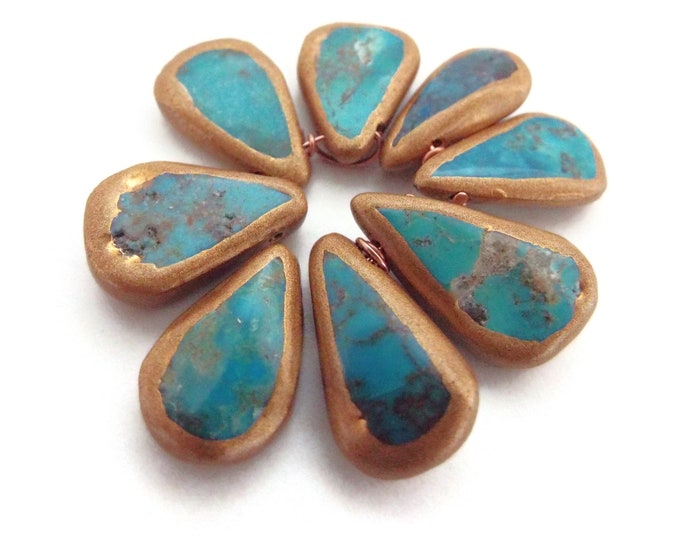 LOT #2 African Turquoise Teardrop Beads, Gold Gilded Edges