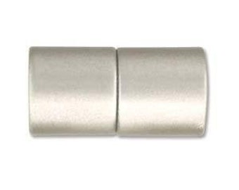 5mm Acrylic Magnetic Cylinder Clasp, Matte Silver, approx. 21x10.5mm,