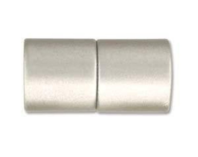 6mm Acrylic Magnetic Cylinder Clasp, Matte Silver, approx. 21x10.5mm,