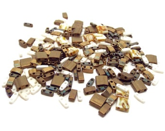 Miyuki Tila Mix, Assorted Sizes, Full, Half, Quarter, 5 grams, Pebbles, #TLMIX206