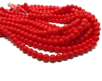 6mm Opaque RED Druk Czech Glass Beads, 50 Beads/Strand