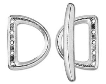 D Ring Clasp Multistrand with 5 Holes in Bright Rhodium/Silver. Tierracast Made in USA