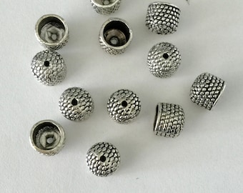 END CAP Cord End with Bumpy Texture Antique Silver Finish 8mm  3 pairs