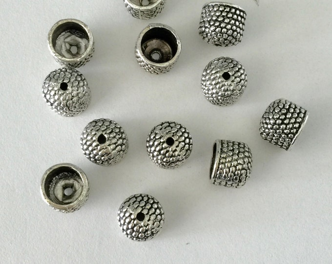 END CAP Cord End with Bumpy Texture Antique Silver Finish 8mm  Set of 6