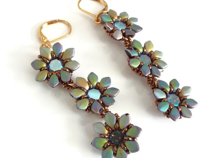 Beaded Flower Dangle Earrings  Swarovski Crystal, Gifts for Her