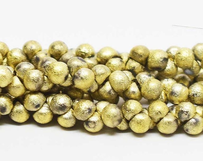 Mini Etched Teardrop Beads, Mushroom, Buttons,  4mm GOLD ORE,  Etched Wide Cap Mushroom Buttons, 50 beads per strand