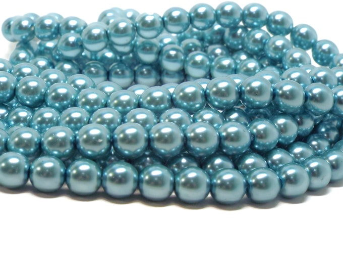 8MM CERULEAN Round Czech Glass Pearls, 75 Pearls/Strand