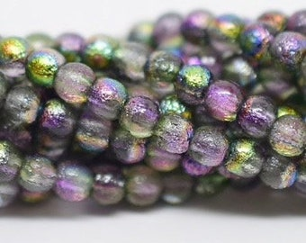 4mm Smooth Druk, ETCHED MAGIC ORCHID, 50 Beads per Strand
