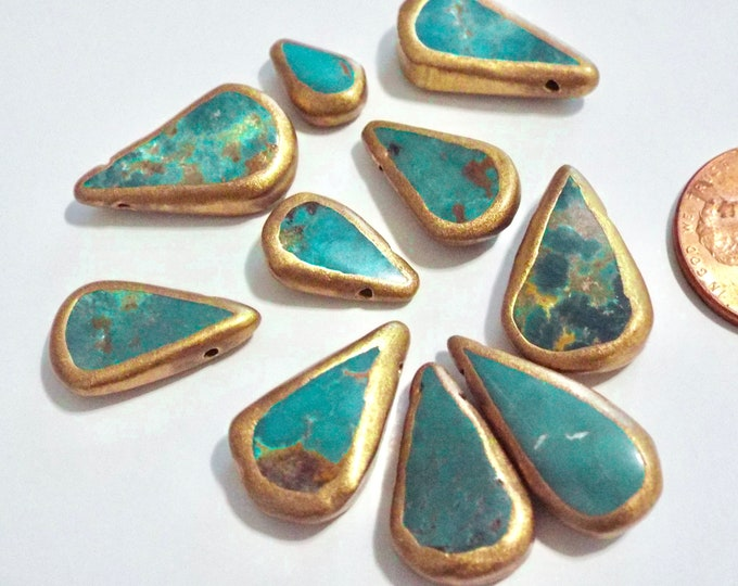 African Turquoise Teardrop Beads, Gold Gilded Edges Set of 12