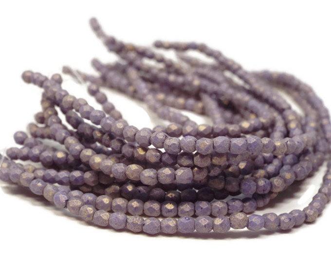 2MM Fire Polished Beads, Czech Glass,  ELDERBERRY, Strand of 50