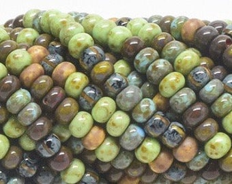 "5/0 Aged Mosaic Stripped Picasso  Mix - 20"" Strand, 4.5mm  Czech Glass Seed Beads"