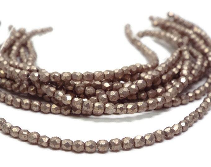 Firepolish Beads 2mm Czech Glass, Saturated Metallic HAZELNUT  Strand of 50