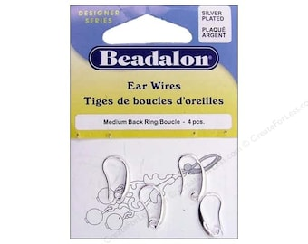 Ear Wires by Beadalon, Medium Back Ring, Silver Plated. Pack of 4