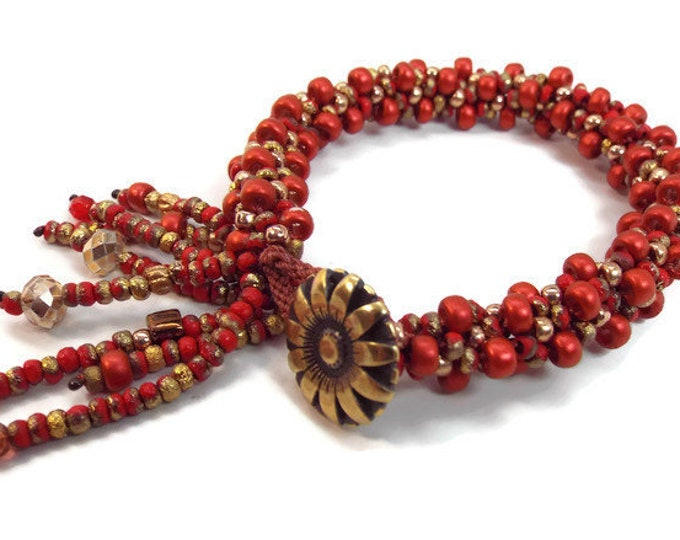 COMPLETE KIT KUMIHIMO  Red and Gold Jangle Dangle Bangle