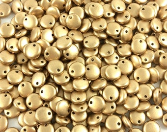 6mm Lentil Beads, Matte Metallic Flax, Aztec Gold,  50 Beads, Top Drilled Single Hole