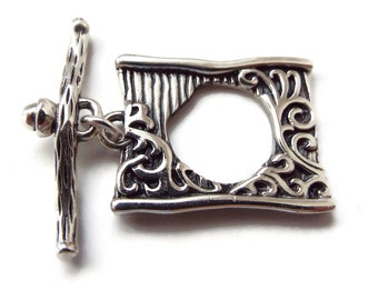 TOGGLE CLASP, Rectangular Scrollwork, Large,  25mm, Choice of Bronze or White Bronze
