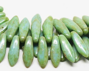 2 Hole Dagger Beads, 5mmX16mm Green Turquoise Picasso - 25 Beads
