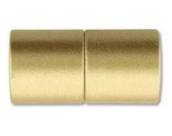 5mm Acrylic Magnetic Cylinder Clasp,  Matte Gold, approx. 21x10.5mm,