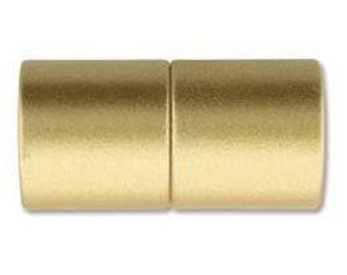 6mm Acrylic Magnetic Cylinder Clasp,  Matte Gold, approx. 21x10.5mm,