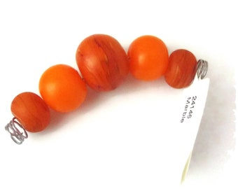 Unicorn  Marble Beads, Orange Crush, 5 Graduated Beads per Set