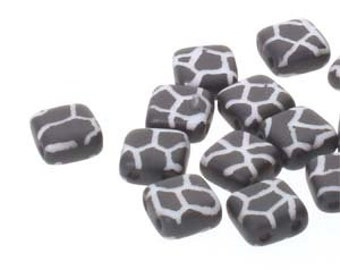 Tile  2 Hole Bead,, Black and White Cracked Pattern,  6mm,  25 Beads per Strand