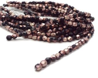 Firepolished Czech Beads 4mm,  MATTE APOLLO BLACK  Strand of 50