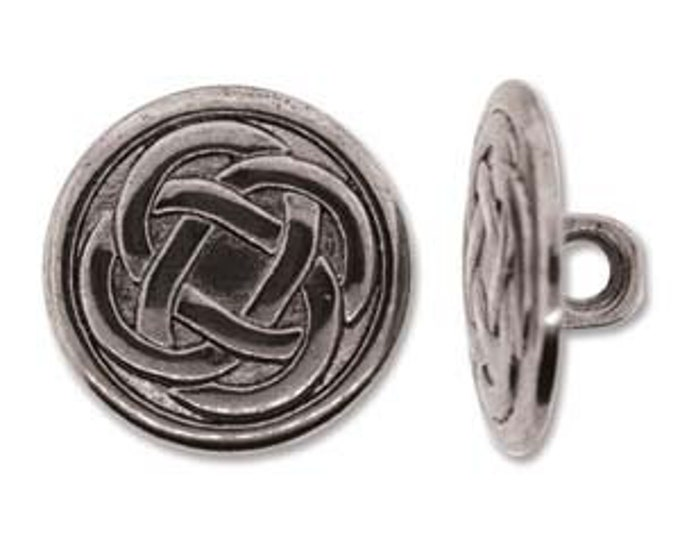 BUTTON CELTIC KNOT  Set of 2,  Antique Silver Tone 18MM
