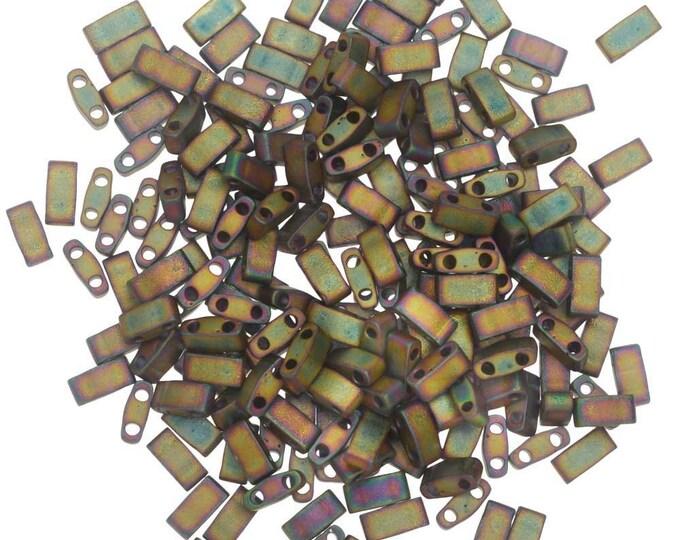 Half Tila, 5x2.3mm, Miyuki 2035, Matte Metallic Khaki Iris, 10grams