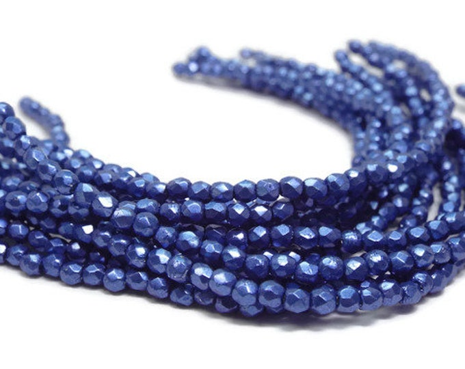 2MM Fire Polished Beads, Czech Glass,  BLUE Strand of 50