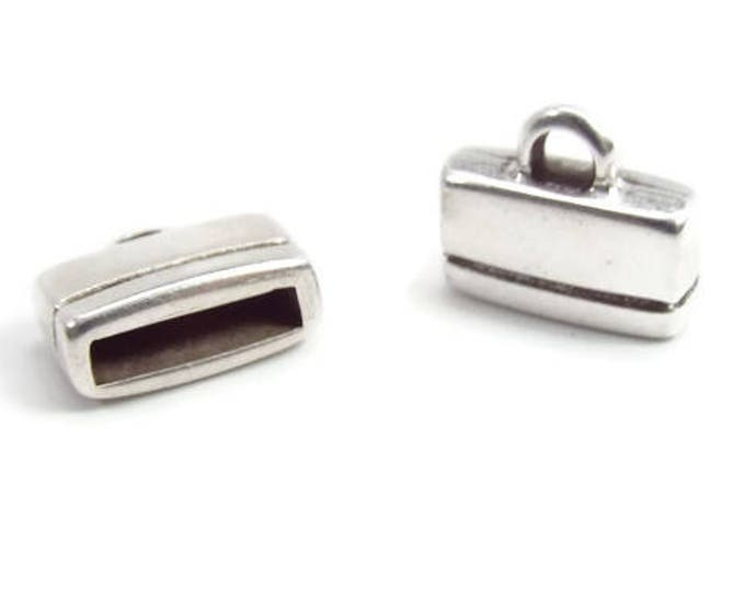 FLAT Rectangle END CAP, 10mm, Loop End, Antique Silver or Bright Gold  Set of 2