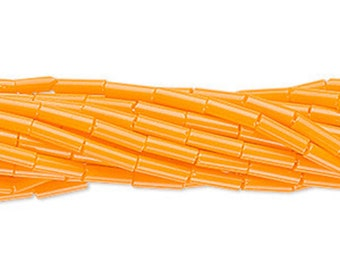 6mm Bugle Beads #3 Preciosa Czech Glass Opaque Light Orange, 20 Grams