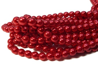 6MM, Xmas, Christmas, RED, Round Czech Glass Pearls, 75 Pearls/Strand