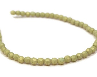 2MM Fire Polished Beads, Czech Glass,  AVACADO  Strand of 50