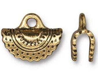 TierraCast Crescent Crimp End,  15mm Antique Gold, Lead Free Pewter, 1 Pair