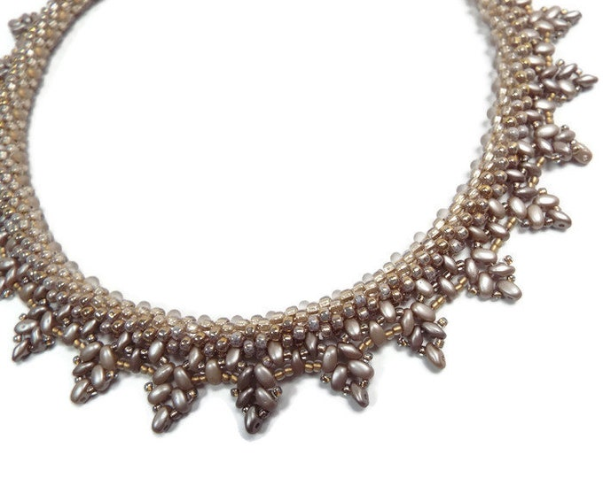 Necklace, Kumihimo Beaded Fringe Collar in  Satin Glow