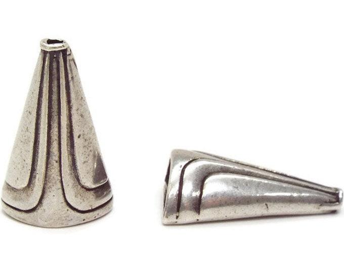 END CAP, CONE, Flat End Cap, Cone, Choose Antique Copper, Gold, or Silver,  23x14mm.  Pair