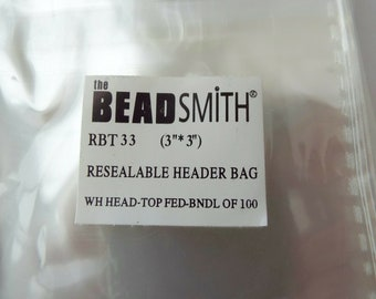 """Resealable Header Bag Bundle of 100. Choice of 3"""" or 2"""""""