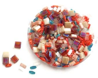Miyuki Tila Mix, Assorted Sizes, Full, Half, Quarter, 10 grams, ISLAND HOPPER, TLMIX202