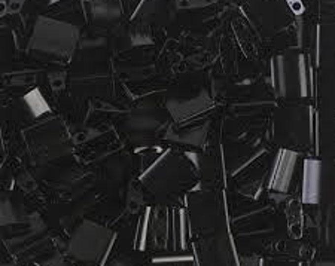 Tila 2 Hole Square Bead 5MM, Opaque Black Miyuki TL401, 10 grams