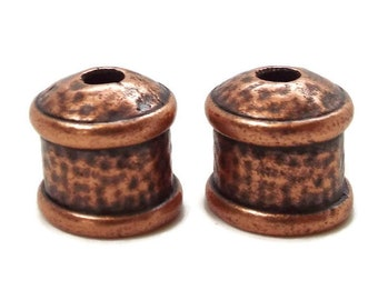 END CAP, 9mm with Textured Finish Antique Copper, Priced per Pair