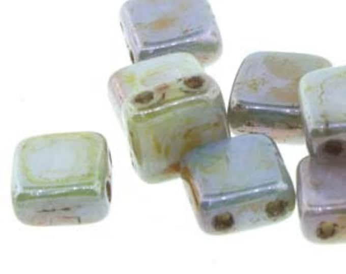 Tile 6mm 2 Hole Bead,, OPAQUE GREEN LUSTER  25 Beads per Strand