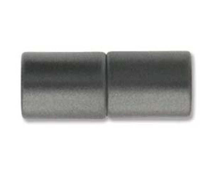 5mm Acrylic Magnetic Cylinder Clasp, Matte Granite- Gunmetal, approx. 21x10.5mm,