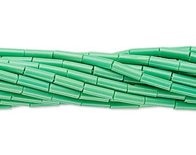 6mm Bugle Beads #3 Preciosa Czech Glass Opaque Mint Green, 20 Grams