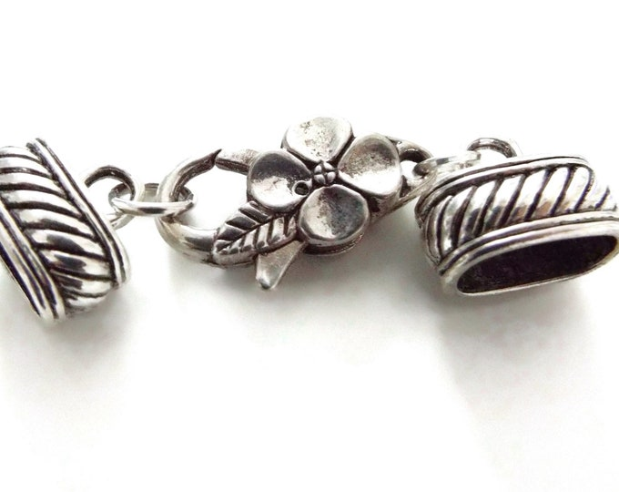 10mm x 7mm Oval Antique Silver Plated End Caps with Floral Motif Lobster Claw Clasp, Oval Silver End Cap and Clasp Set, Kumihimo Closures