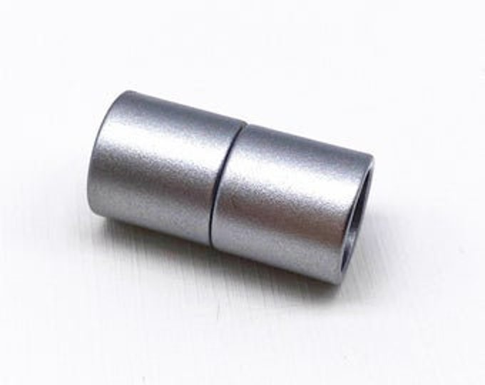 5 mm Acrylic Magnetic Cylinder Clasp, Matte Gunmetal, approx. 21x10.5mm,