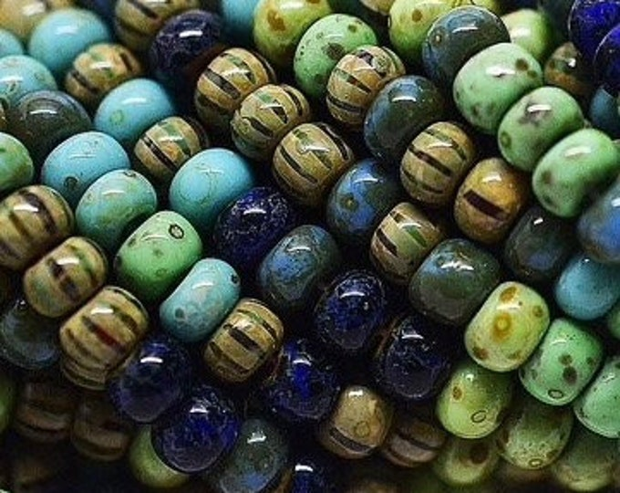 5/0 Stripped Picasso Mix, Czech Seed Beads, Aged Rain Forest