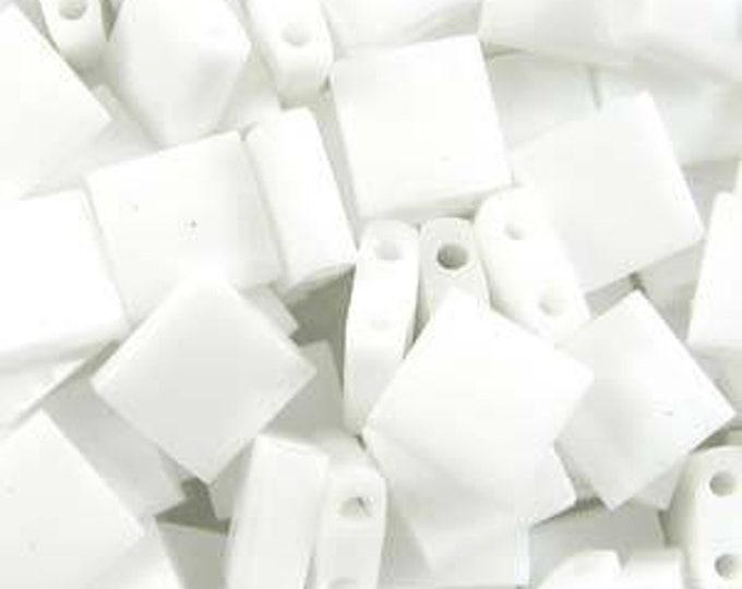 Tila 2 Hole Square Bead 5MM, Opaque White, Miyuki TL402, 10 grams