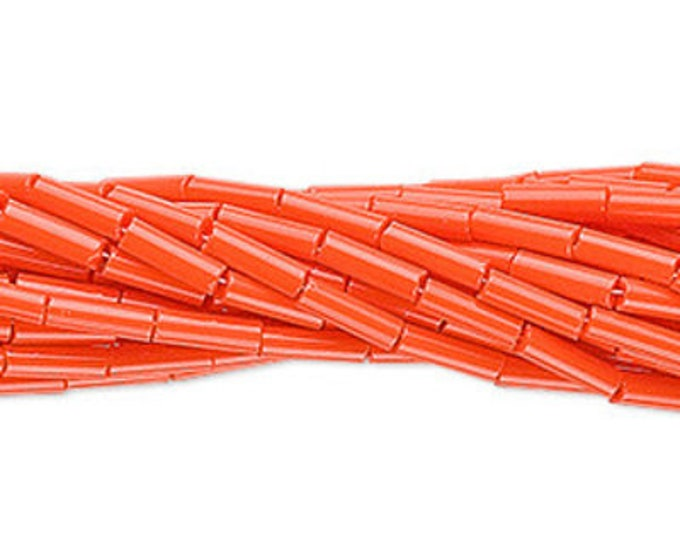 6mm Bugle Beads #3 Preciosa Czech Glass Opaque Orange, 20 Grams